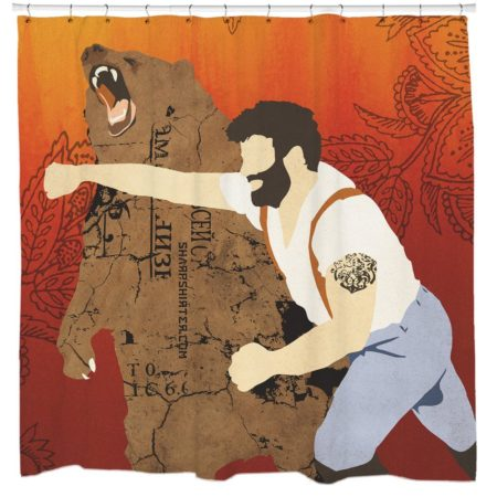 The haymaker shower curtain with an allegory for you to ponder