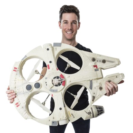 oversized millennium falcon flying drone from star wars movie