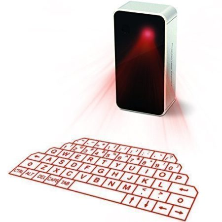 wireless device that projects a laser keyboard for typing for use with tablet or cell phone with toggle mouse feature