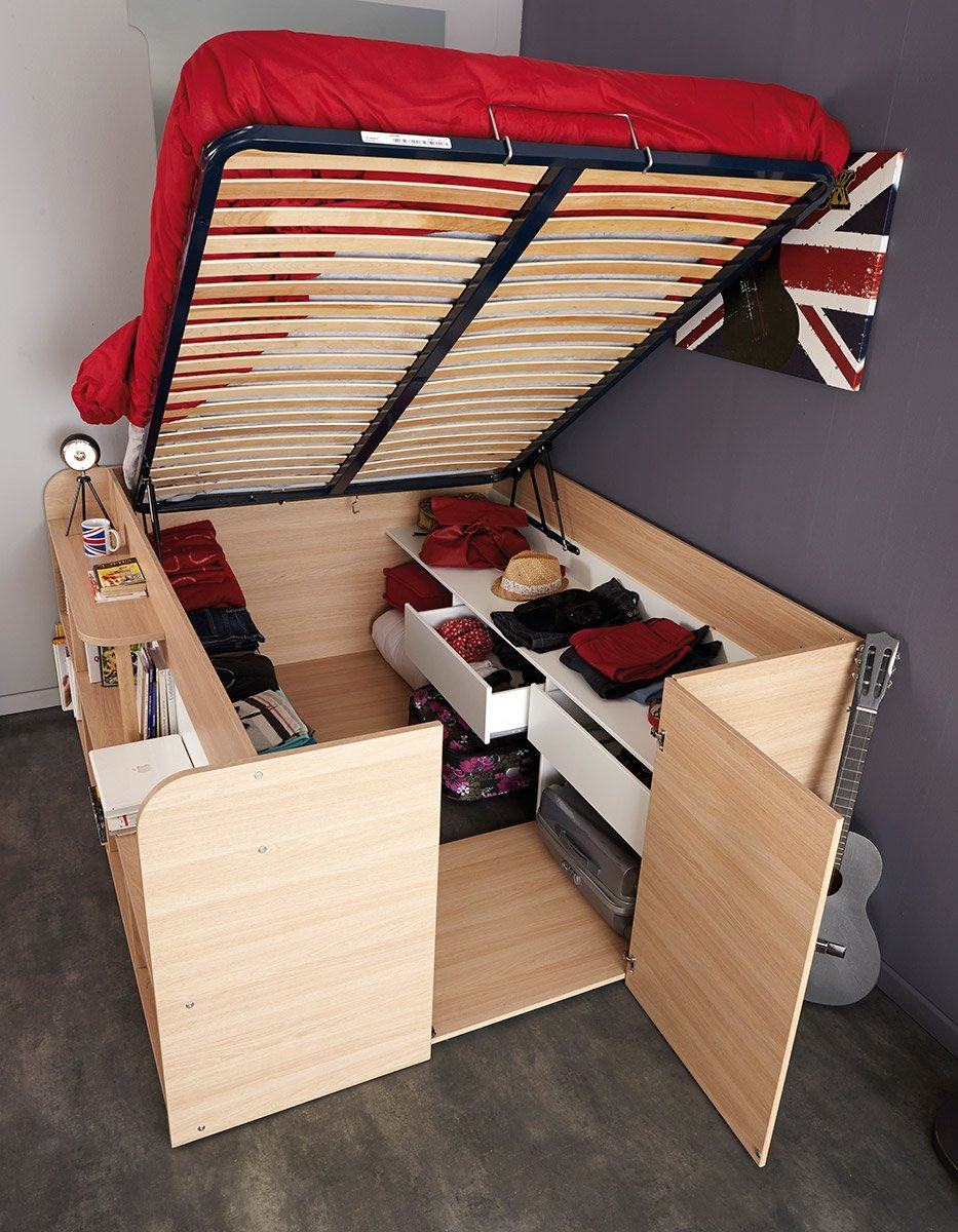 Bed That Rises Up With Storage E Below And On The Sides
