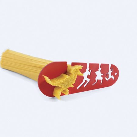 spaghetti measuring tool with funny design of t-rex chasing a man, woman, and child