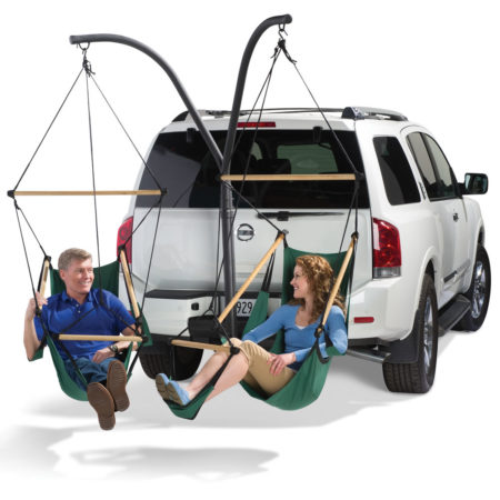 hammock chairs attached to trailer hitch for mobile relaxation and tailgating