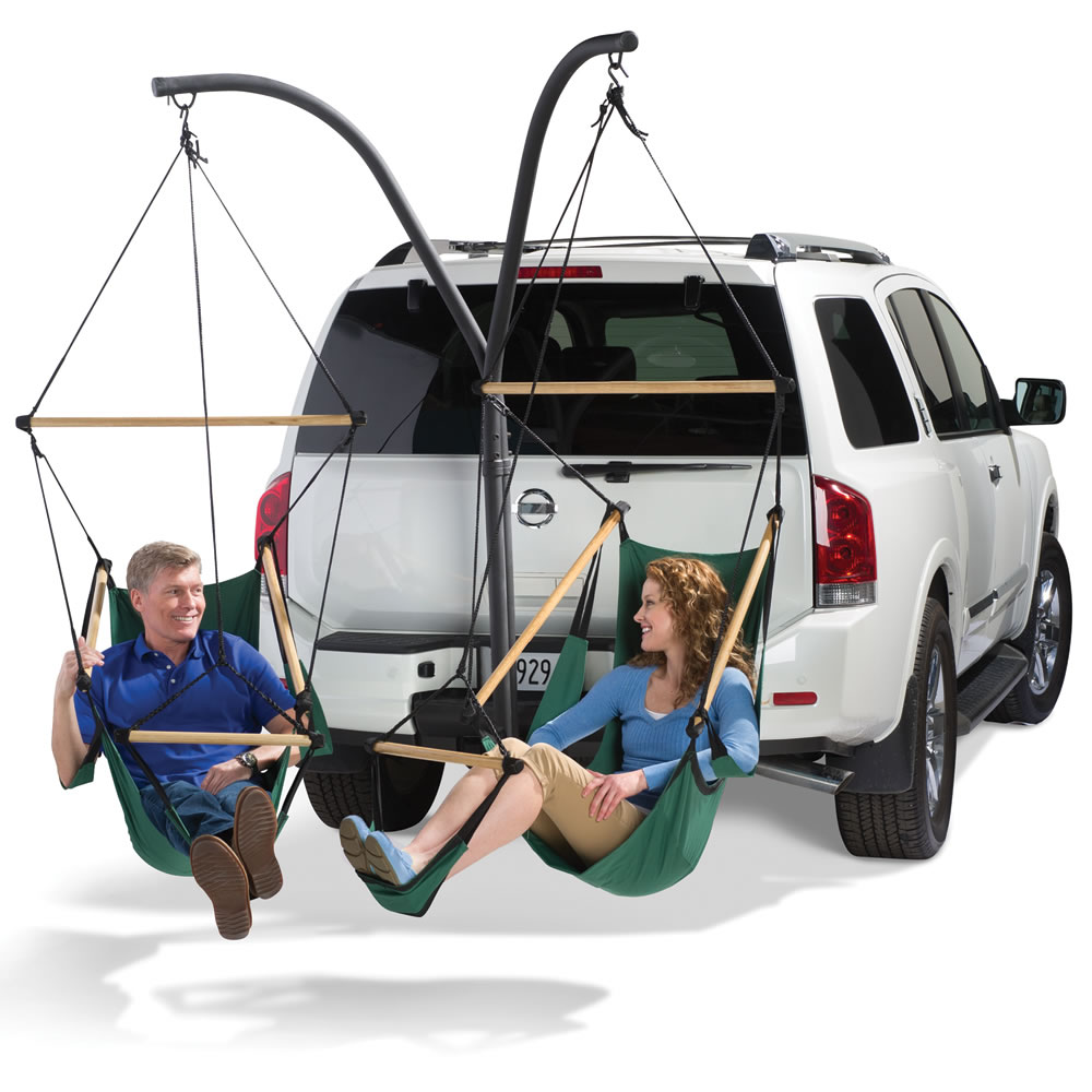 Merveilleux Hammock Chairs Attached To Trailer Hitch For Mobile Relaxation And  Tailgating