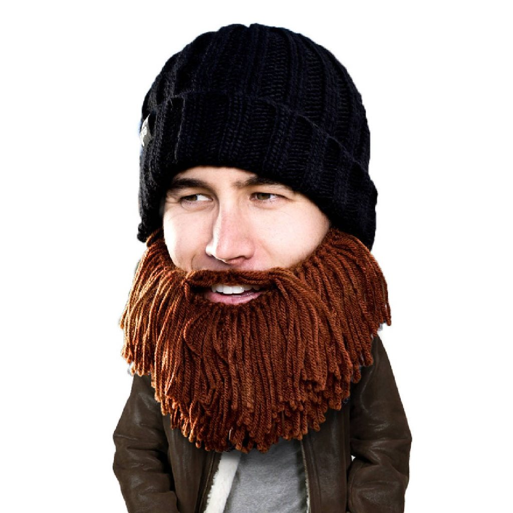 knit beanie hat that has a knitted beard attached giving the appearance  that the wearer has ba57f092b60