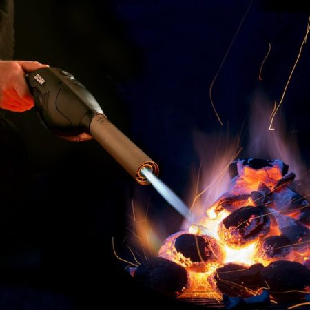 portable flame thrower that has a flame and blower for lighting grills and camp fires quickly