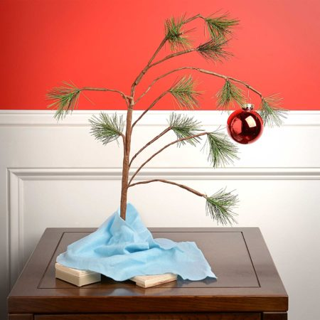 charlie brown sparse christmas tree replica with blanket