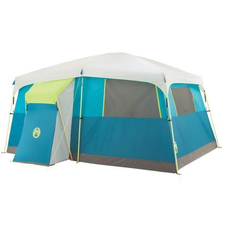 Coleman tent that has hinged door and a closet with rack for hanging clothes and storing camping gear