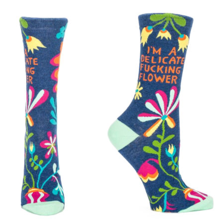 "funny novelty socks with flowers and text stating ""I'm a delicate fucking flower"""