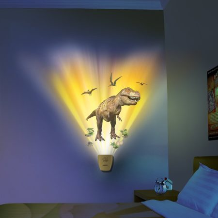 Dinosaur decal for kids room wall that has light and sound show