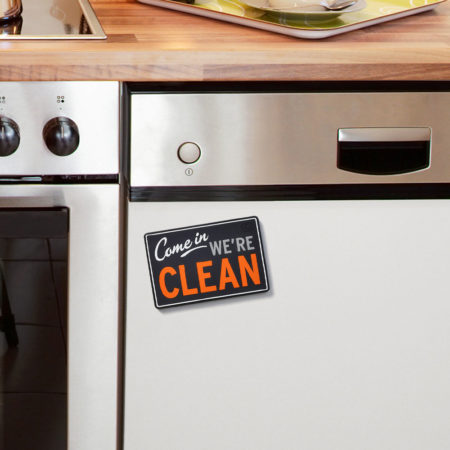 "dishwasher magnet says, ""come in we're clean"" on one side, and ""sorry we're dirty on the other"""