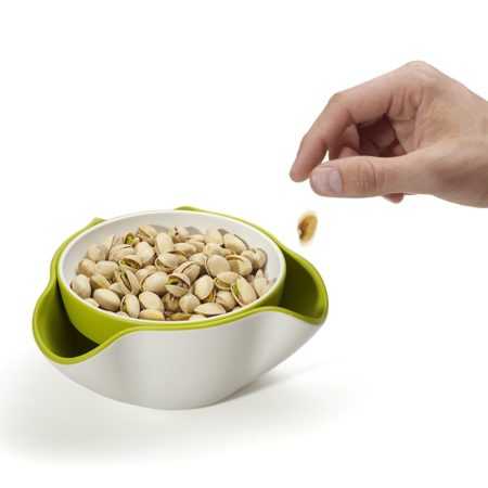 food serving dish with dish that fits underneath it for discarding shells, pods, or skins