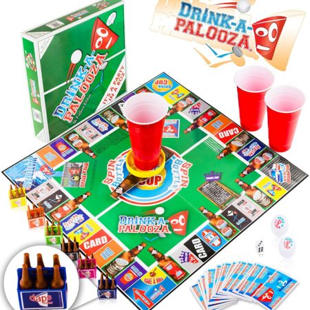 Drinking board game that combines multiple popular drinking games
