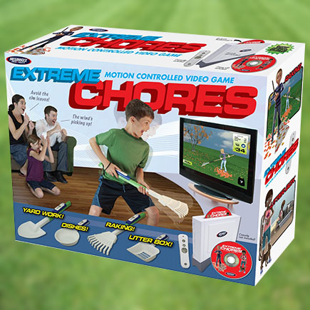prank gift box of fake video game of extreme chores