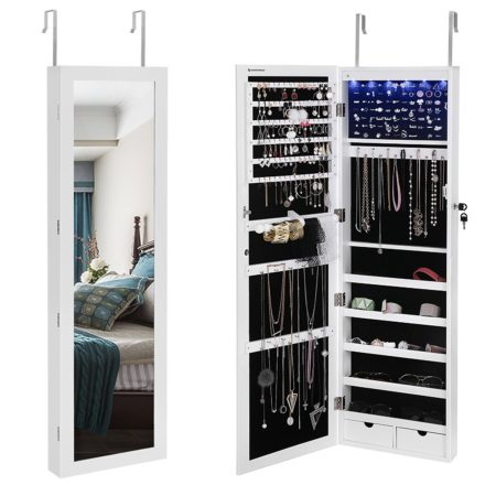 Hanging jewelry armoire with led lights and mirror