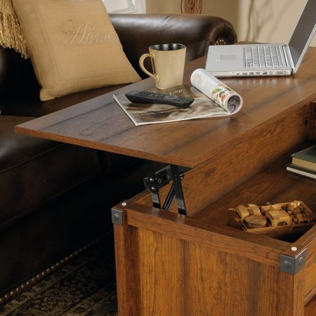 coffee table with top that lifts up to make a desk