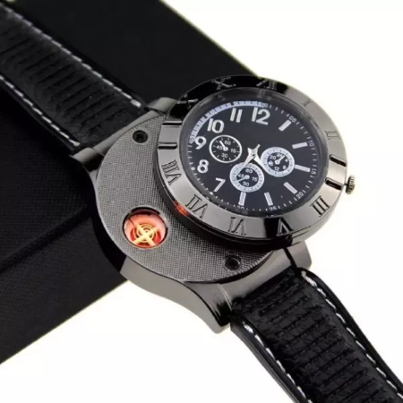 usb chargeable watch that has embedded windproof cigarette lighter