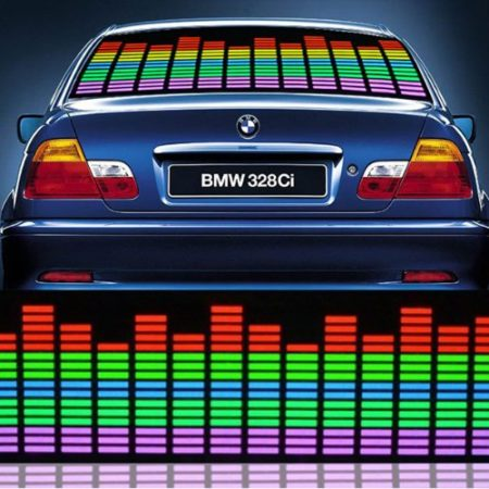 rear window car decal depicting stereo equalizer responsive to music