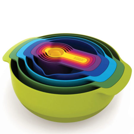 9-piece nesting bowl set that includes mixing bowls, measuring cups, and sieve colander