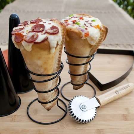 pizza making kit that allows you to make pizza in an ice cream cone shape