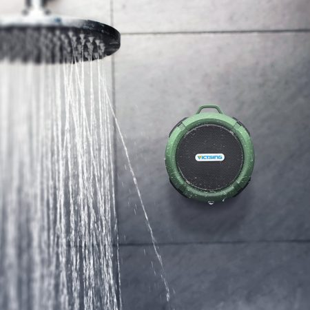 portable wi-fi bluetooth shower speaker with suction cup and hook