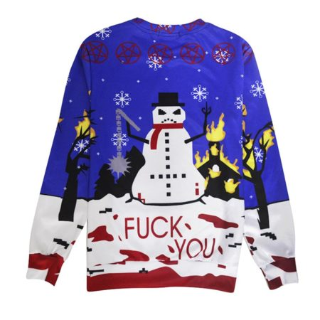 """ugly christmas sweater with snowman and text stating """"fuck you"""""""