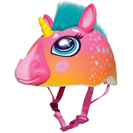 unicorn helmet with horn and green hair for kids