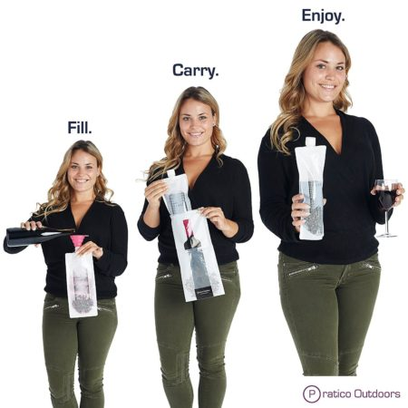 Portable and reusable wine carrying bag holds full bottle of wine