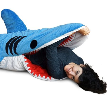 sleeping bag that looks like a shark and like the occupant is being eaten by the shark