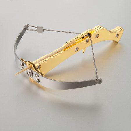 miniature pocket handheld crossbow that shoots toothpicks