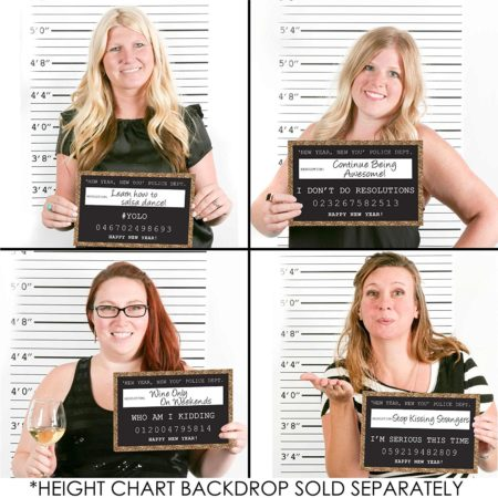 funny mugshot props for new year's eve party photos that allow you to write in your new year's resolutions