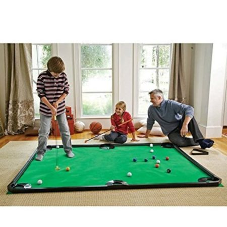Indoor game that is a mix between golf and billiards