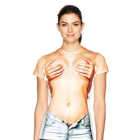 funny t-shirt looks like a woman's boobs are being covered up by someone behind her reaching around and cupping her breasts