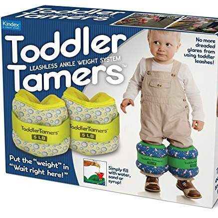 Funny empty prank gift box that advertises an ankle weight system for toddlers to keep them in plance