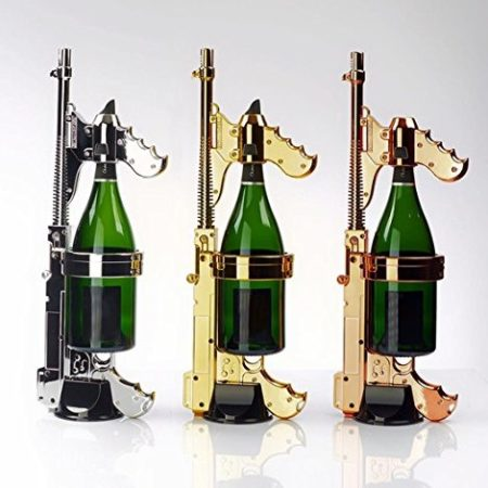Gun that attaches to champagne to launch champagne out of bottle