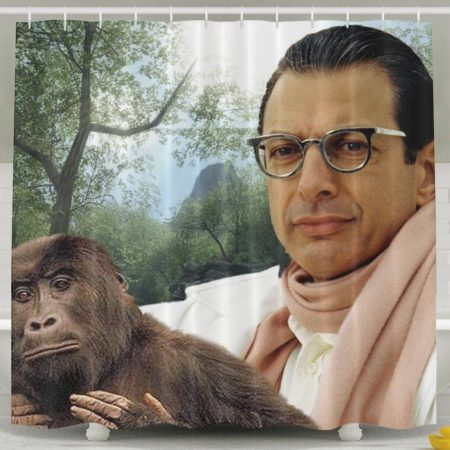 waterproof fabric shower curtain with a picture of jeff goldblum holding a monkey
