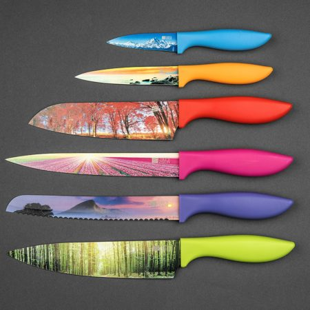 cool kitchen knives set with landscape pictures on the blades