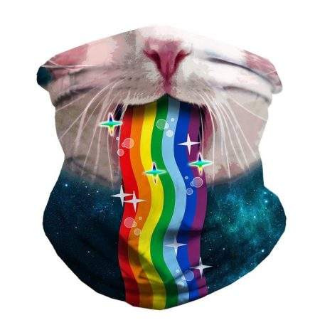 funny face mask with a cat puking a rainbow