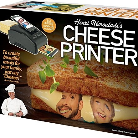 funny fake prank box with images of a cheese printing device on the box