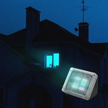 home burglar protection system that uses fake tv lights to make it appear as though someone is home