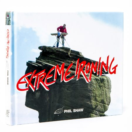 book depicting individuals ironing while engaged in extreme sports