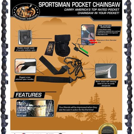 manual pocket-sized chainsaw with free fire starter