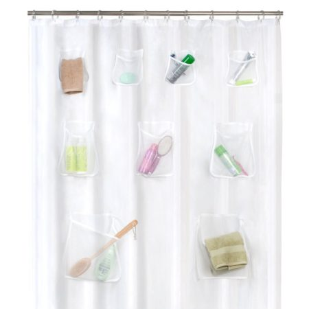 shower curtain with mesh pockets for extra storage in the shower