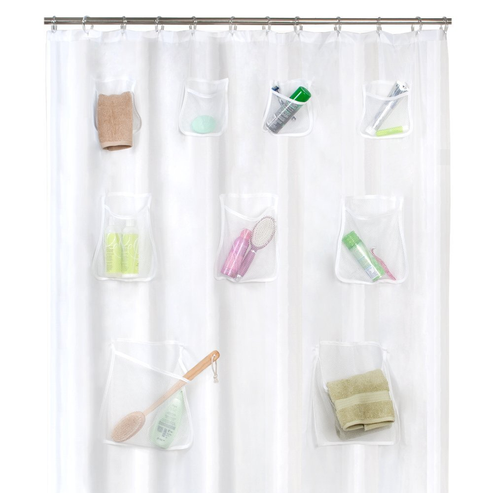 Shower Curtain With Mesh Pockets For Extra Storage In The