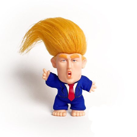 funny donald trump troll doll with wild orange hair