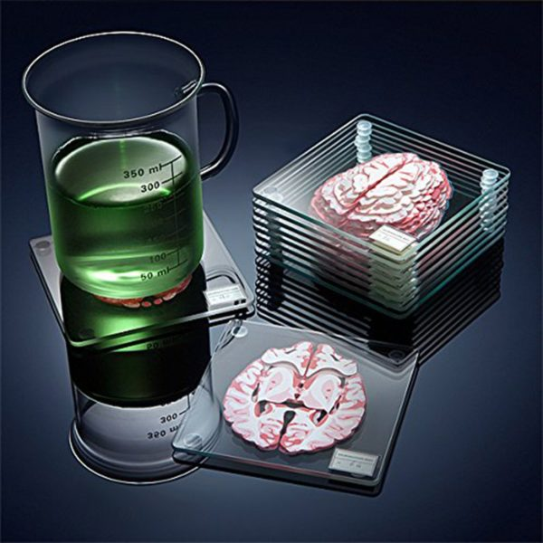 cool drink coasters that look like slices of brains