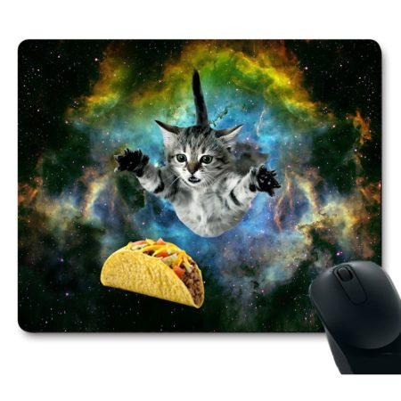 funny mouse pad depicting a cat flying through space trying to grab a taco