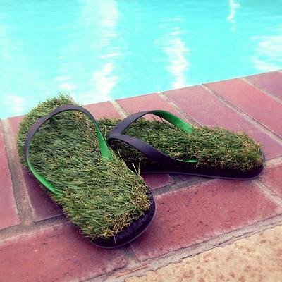 cool flip flops that have grass turf for soles