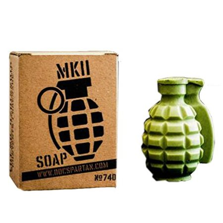 green soap shaped like a grenade