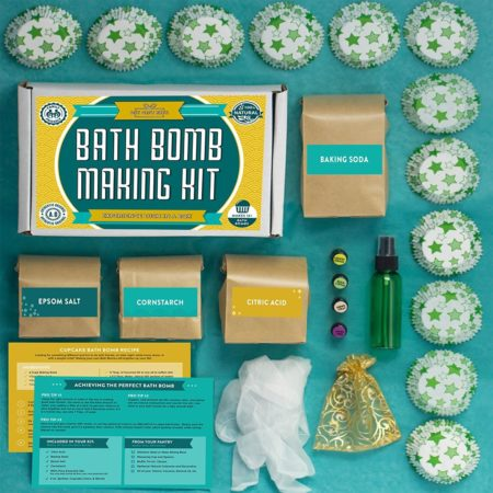kit that provides all the ingredients and instructions to make your own bath bombs