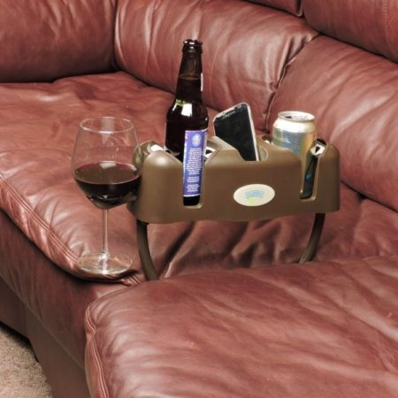 drink caddy for your couch that holds wine, beer, remotes, and more